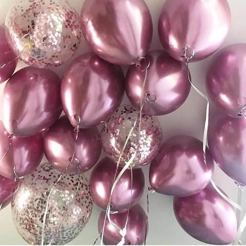 25 шаров 36 см розовый хром, конфетти розовое золото
