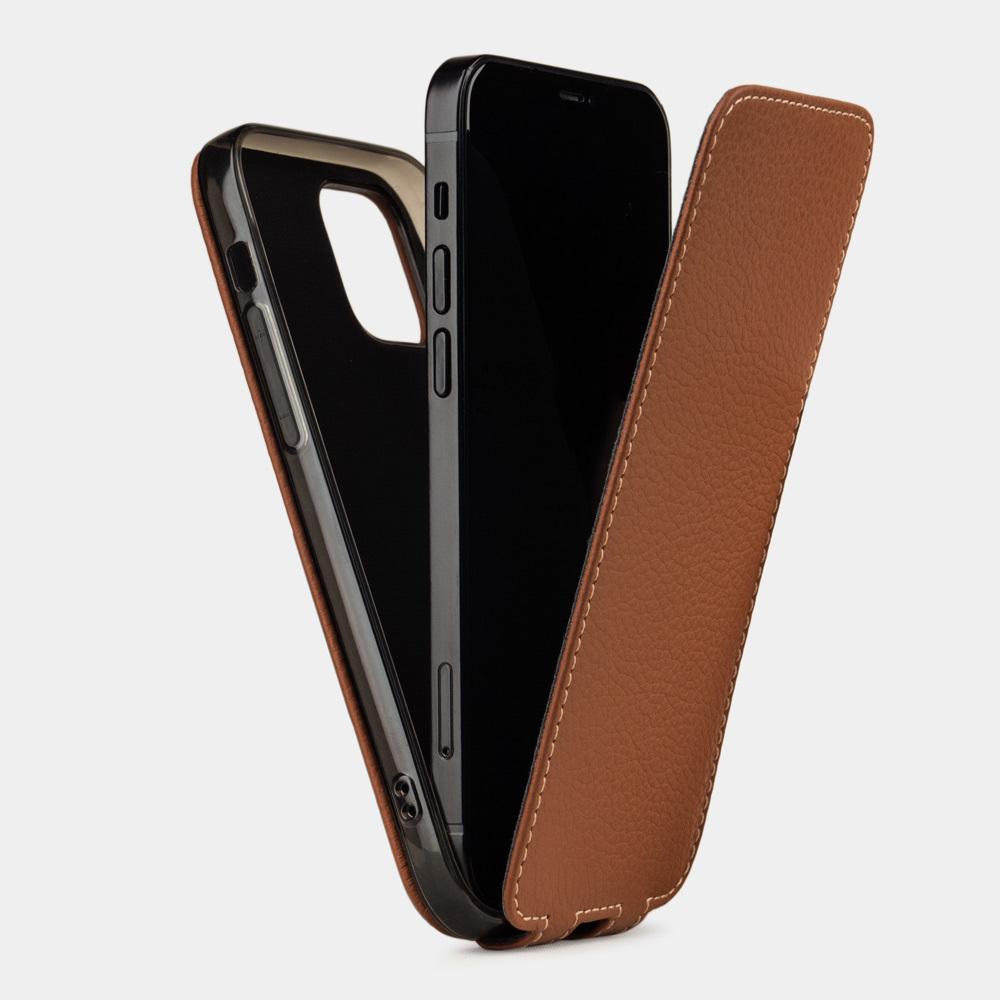 Чехол для iPhone 12 Pro Max из натуральной кожи теленка, цвета карамель