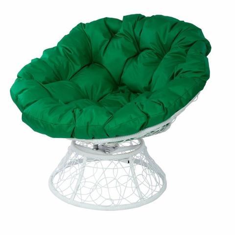 Кресло Papasan с пружиной, цвет плетения белый, цвет подушки зелёный