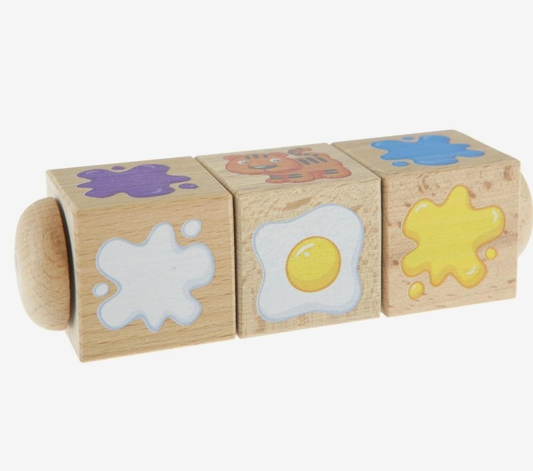 """Кубики деревянные на оси """"Составляем цвета"""""""