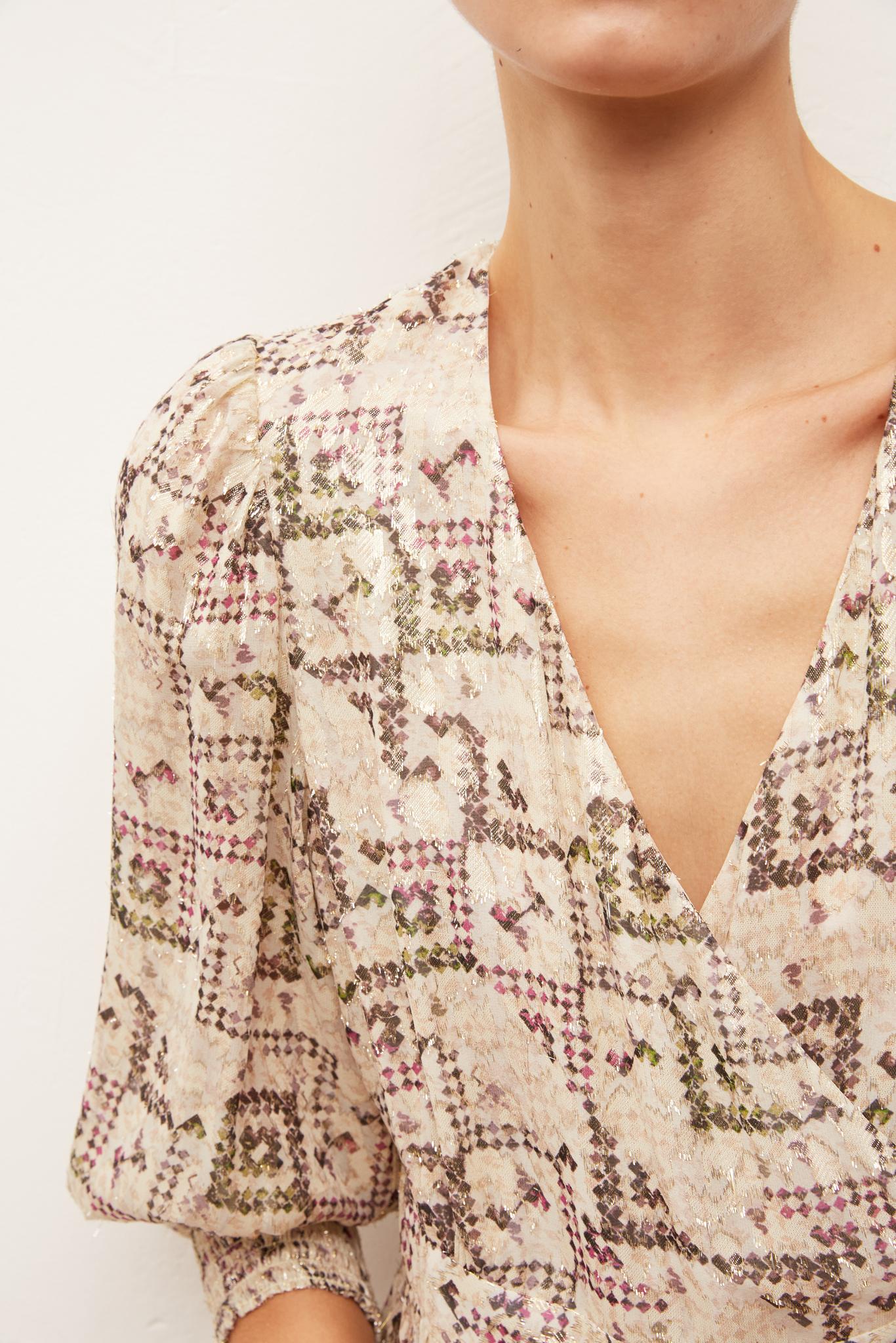 SOLANGE - Длинное платье из смесового шелка с люрексом и с принтом