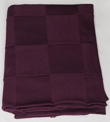 Плед шерстяной вязаный Квадрат фиолетовый