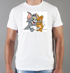 Футболка с принтом мультфильма Tom and Jerry (Том и Джерри), белая 005