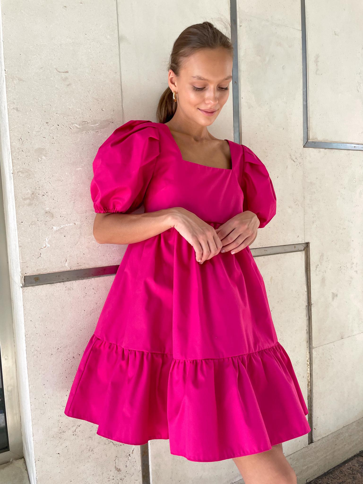 Платье ярусное из хлопка (малиновый)