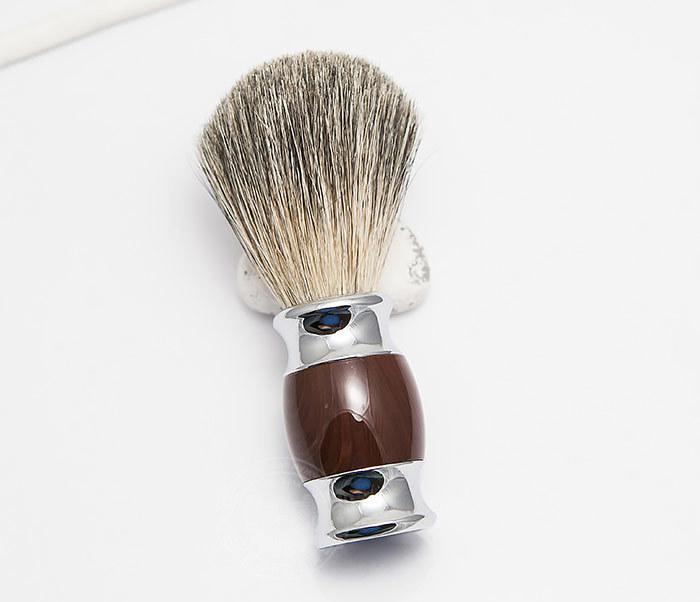 RAZ303-2 Помазок из волоса барсука с коричневой рукояткой фото 02