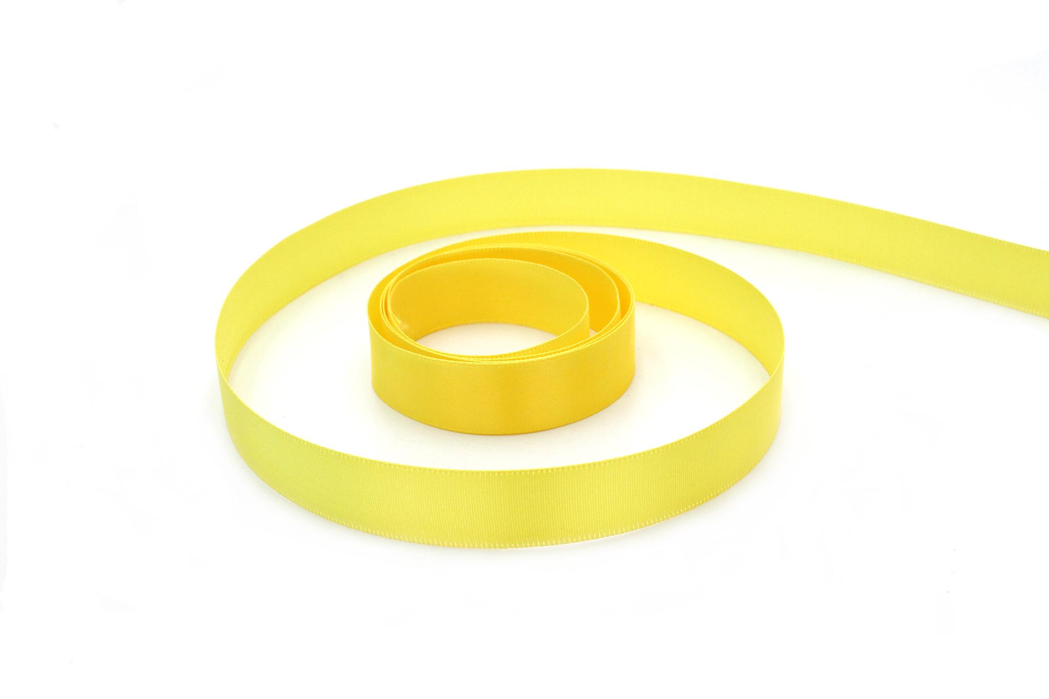Лента атласная,2 см, ярко-желтый