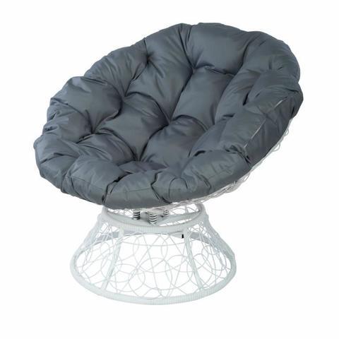 Кресло Papasan с пружиной, цвет плетения белый, цвет подушки серый