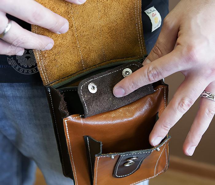 BAG379-2 Мужская кожаная сумка на пояс коричневого цвета, ручная работа фото 12