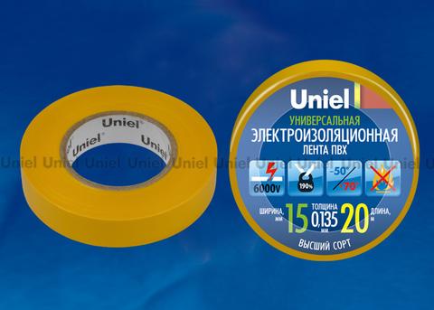UIT-135P 20/15/01 YEL Изоляционная лента Uniel 20м, 15мм, 0,135мм, 1шт, цвет Желтый