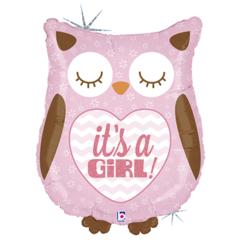 Б Фигура, It's a girl (Это девочка), Сова розовая, блеск, 26