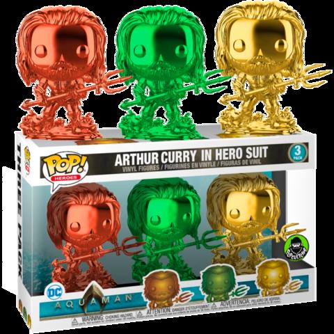 Фигурки Funko Pop! Heroes: Aquaman - Arthur Curry in Hero Suit 3-pack (Chrome) (Excl. to Funko-Shop)