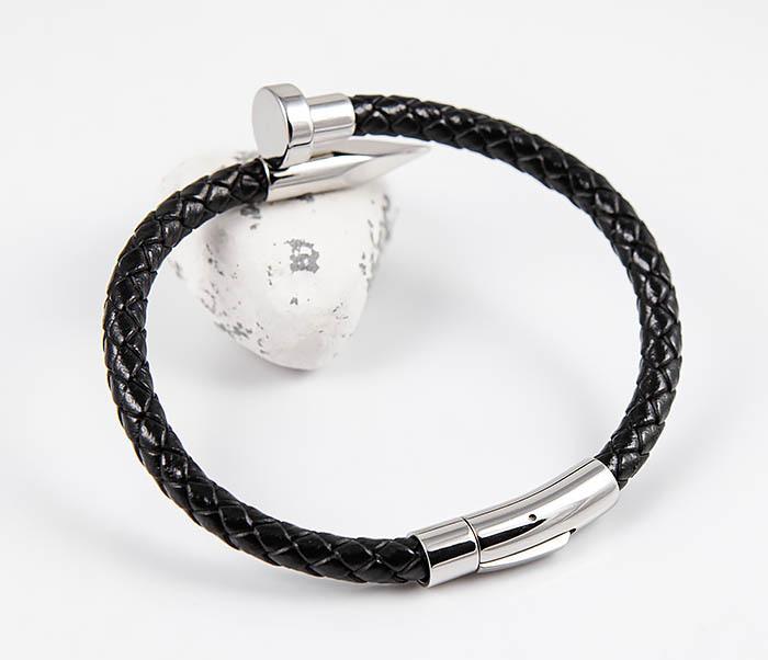 BM536 Мужской браслет «Гвоздь» из кожаного шнура и стали фото 06