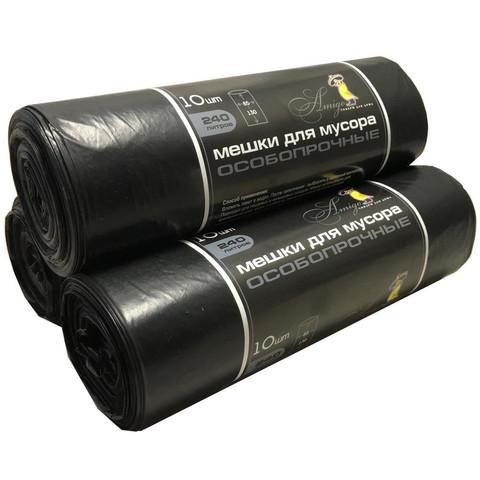 Мешки для мусора на 240 литров черные (40 мкм, в рулоне 10 штук, 85x130 см)