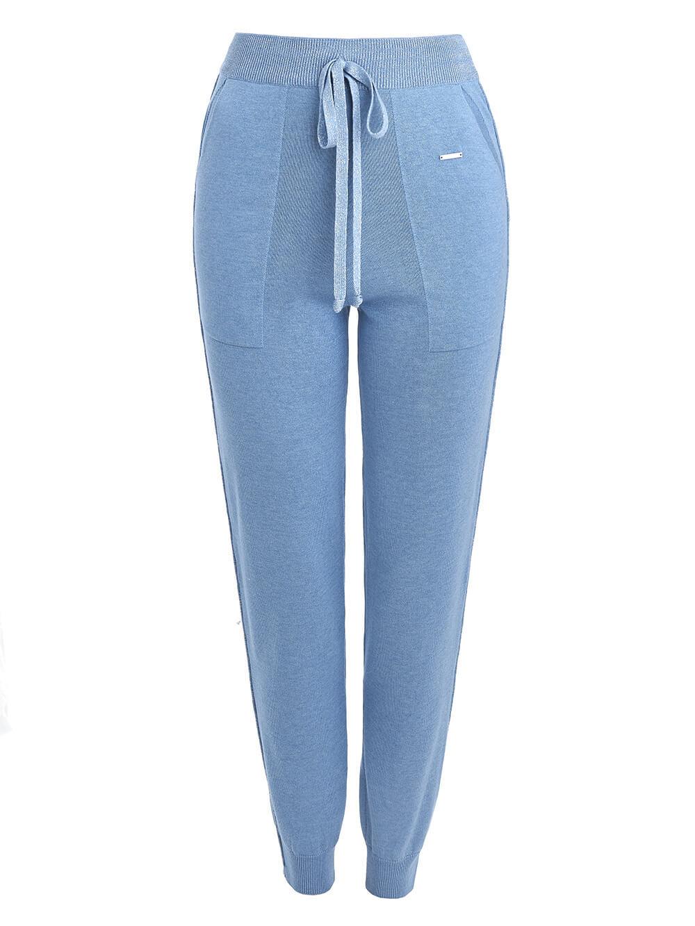 Голубые брюки из шёлка и кашемира спортивного силуэта - фото 1