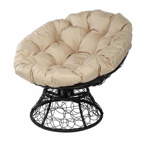 Кресло Papasan с пружиной, цвет плетения черный, цвет подушки бежевый