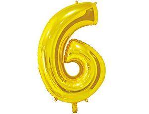 Цифра 6 золотая 65 см