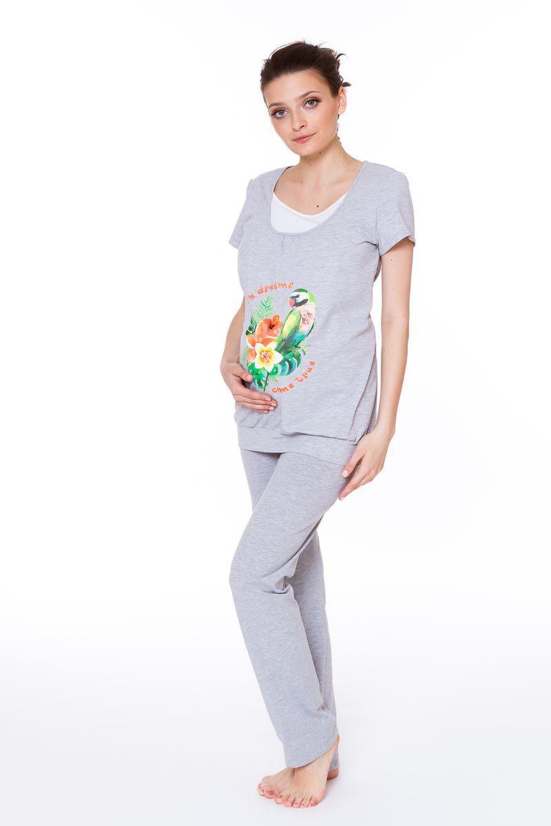 Футболка для беременных и кормящих 08563 серый
