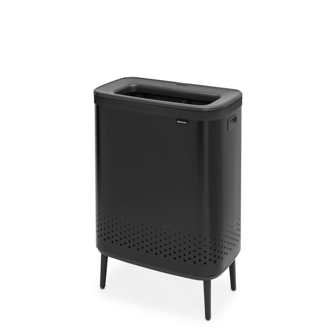 Бак для белья Bo Hi с пластиковой крышкой (2 x 45 л), Черный матовый, арт. 200564 - фото 1