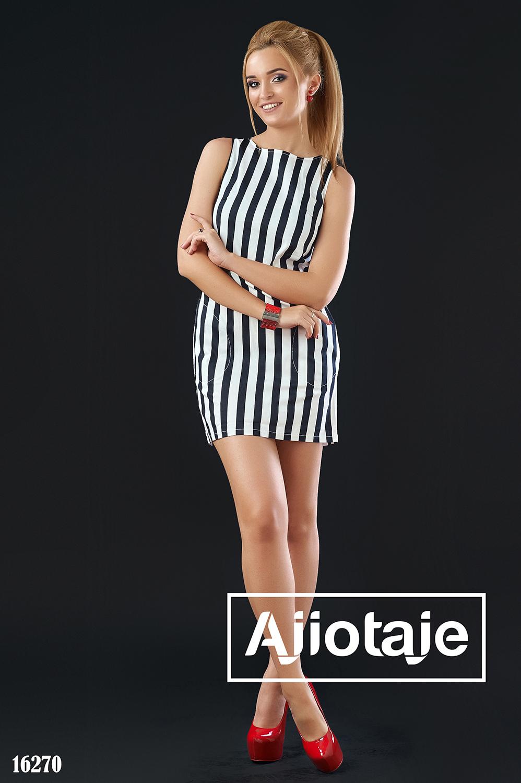 Платье мини в черно-белую полоску