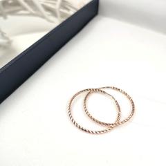 140046- Серьги конго из золота с алмазной гранью Ø 30 мм