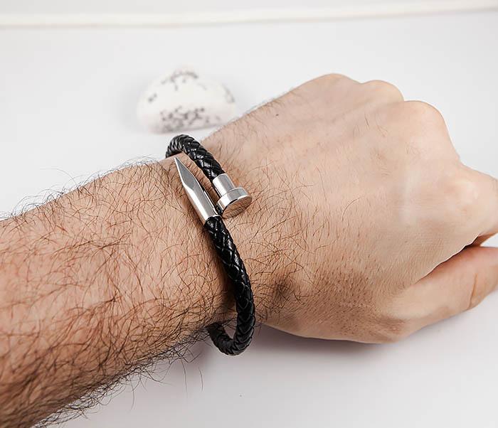 BM536 Мужской браслет «Гвоздь» из кожаного шнура и стали фото 08