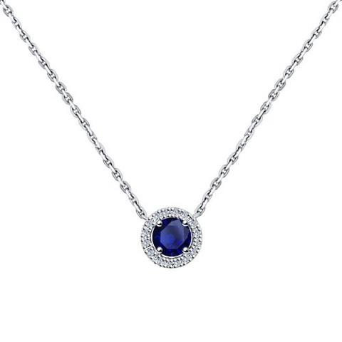 2070009 - Колье из белого золота с бриллиантами и сапфиром
