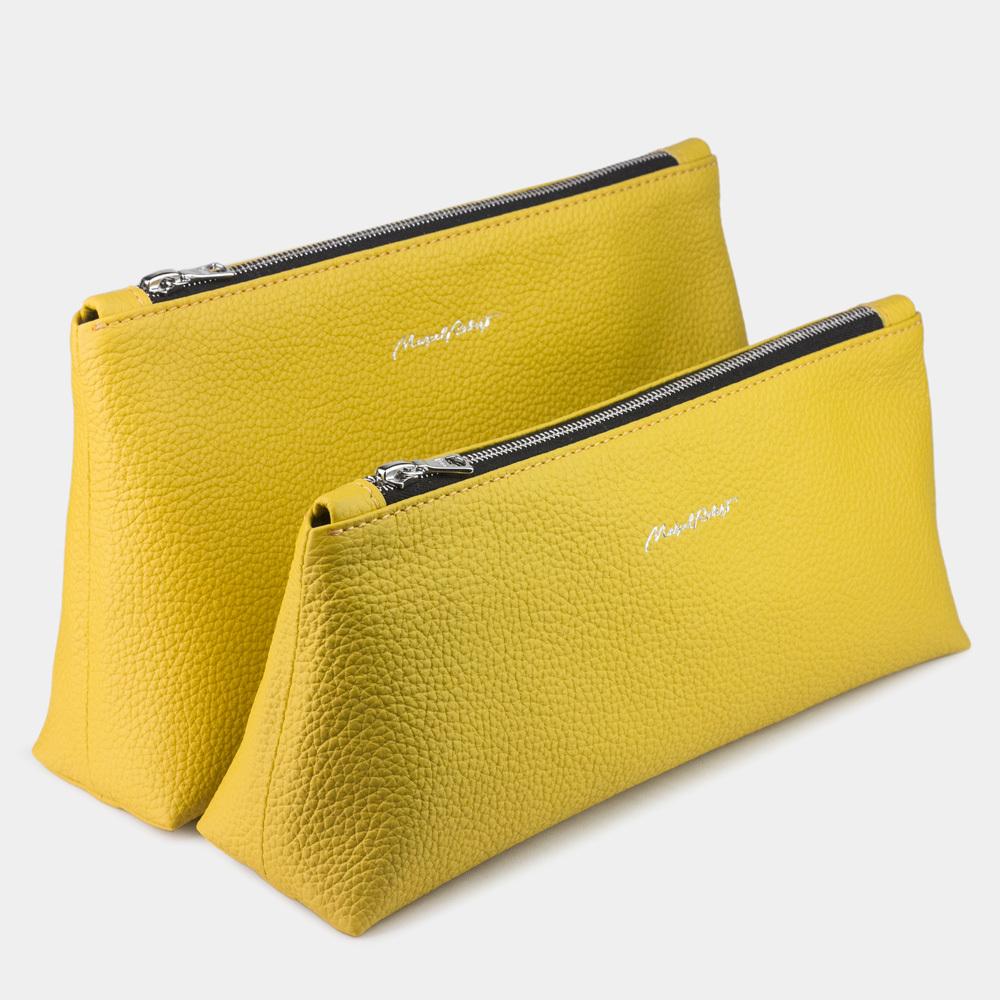 Женская косметичка Flocon Easy из натуральной кожи теленка, желтого цвета