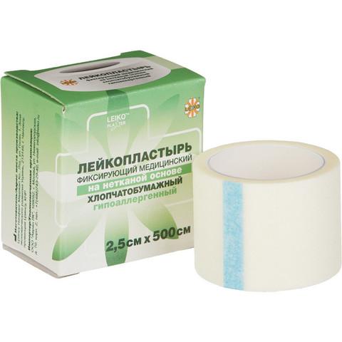 Пластырь фиксирующий Leiko plaster 2.5x500 см нетканая основа