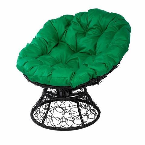 Кресло Papasan с пружиной, цвет плетения черный, цвет подушки зелёный