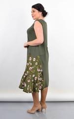 Флориана. Трикотажное платье на лето большой размер. Олива.