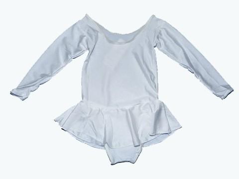 Купальник гимнастический с юбкой. Состав: полиэстер. Размер S. Цвет белый. :(2012):