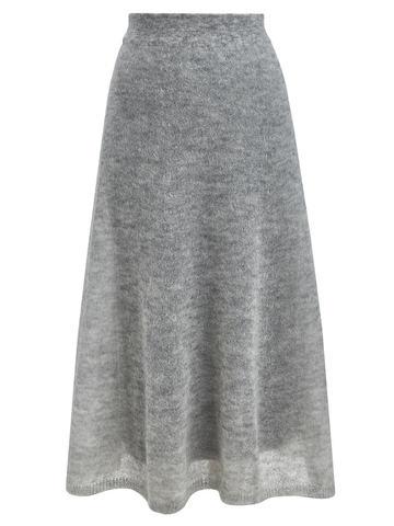 Женская юбка светло-серого цвета из мохера - фото 1