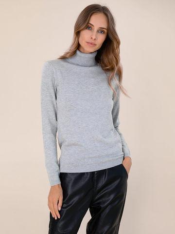Женская водолазка цвета серый меланж из шерсти и шелка - фото 2