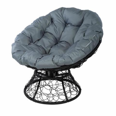 Кресло Papasan с пружиной, цвет плетения черный, цвет подушки серый