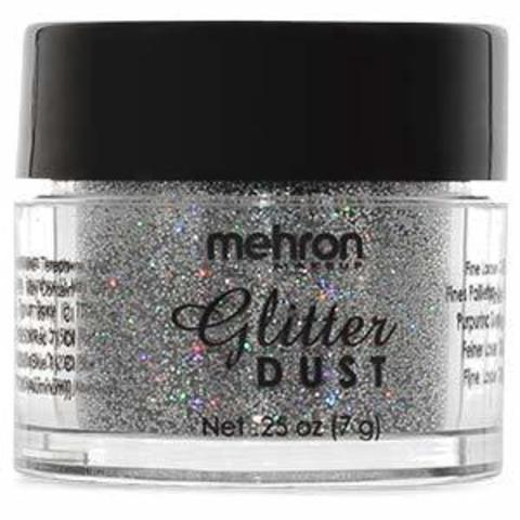 MEHRON Рассыпчатые блестки Glitter Dust, Holographic Silver (Голографическое серебро), 7 г