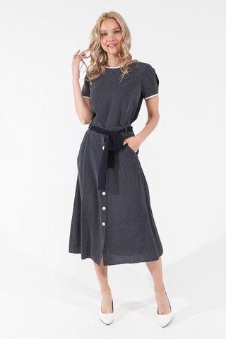 Фото расклешенная темно-синяя юбка в горошек с карманами - Юбка Б143-565 (1)