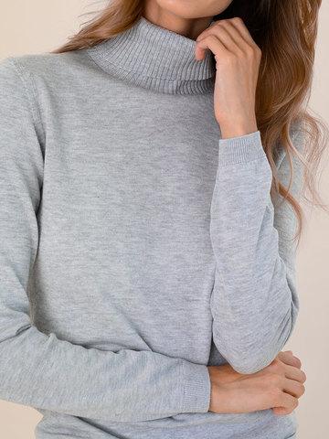 Женская водолазка цвета серый меланж из шерсти и шелка - фото 3