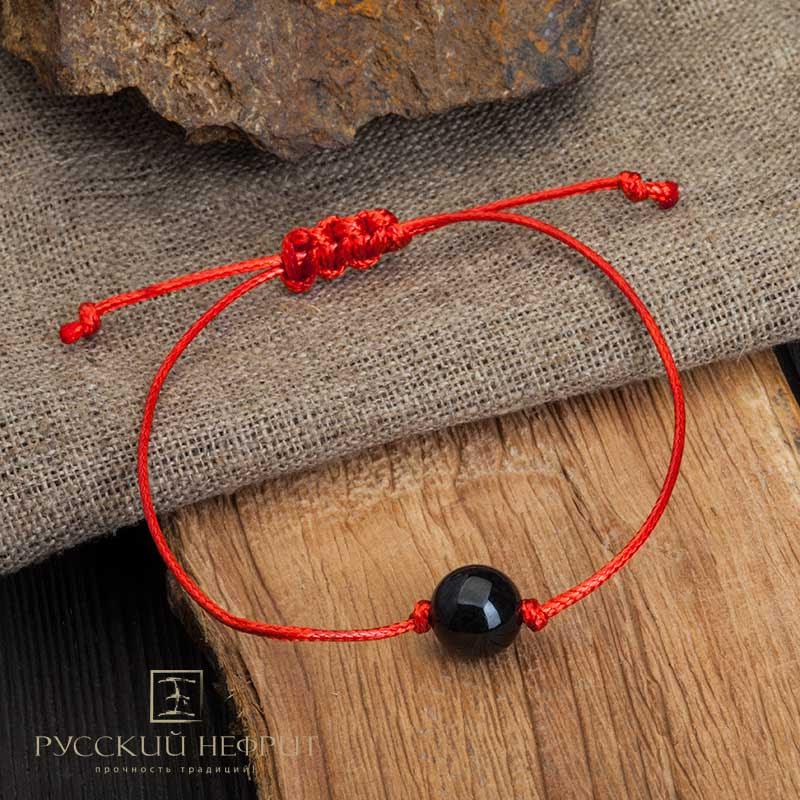 Красная нить с нефритом Браслет Красная нить с черным нефритом Браслет-КН-черный.jpg