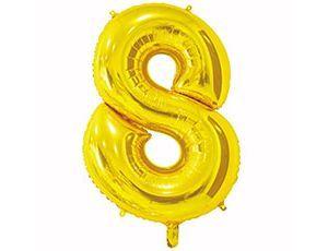 Цифра 8 золотая 65 см