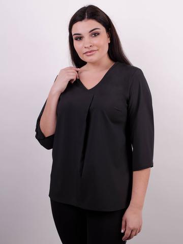 Леона. Оригинальная блуза size plus. Черный.