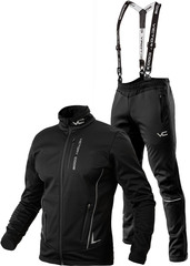 Утеплённый лыжный костюм 905 Victory Code Speed Up Black A2 с лямками мужской