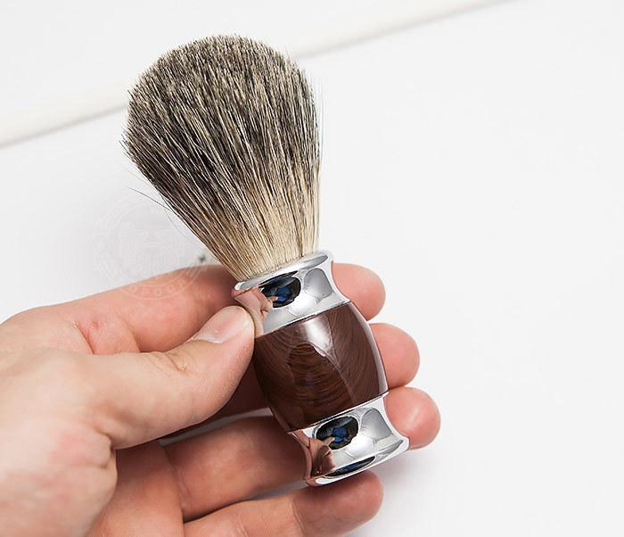 RAZ303-2 Помазок из волоса барсука с коричневой рукояткой фото 04