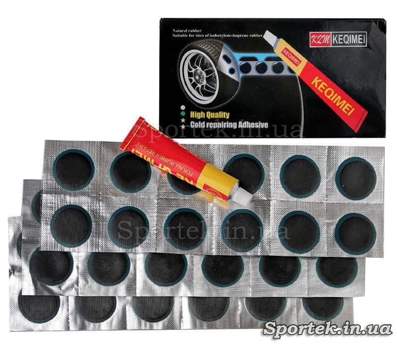 Ремкомплект для ремонту велосипедних камер та гумових виробів: круглі латки (3 см) і клей