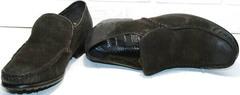 Зимние туфли на меху. Кожаные мокасины мужские Welfare 555841 Dark Brown Nubuk & Fur.