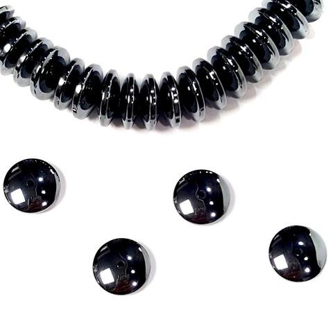 Бусины гематит рондель скругленный 11,5 мм черный 1 штука