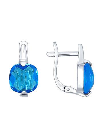 Серебряные серьги с голубым стеклом