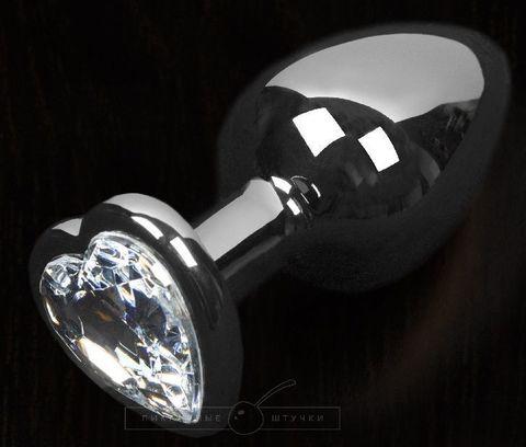 Графитовая анальная пробка с прозрачным кристаллом в виде сердечка - 8,5 см.