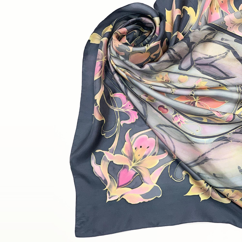 Шелковый платок батик Аметист Grey С-61