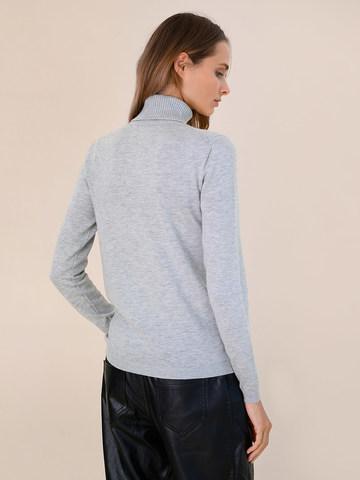 Женская водолазка цвета серый меланж из шерсти и шелка - фото 4