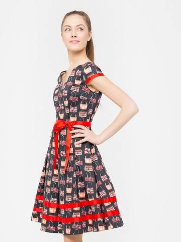Фото летнее платье с расклешенной юбкой и контрастной отделкой - Платье З175-359 (1)